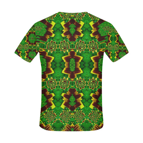 golden flowers in the green soft and silky All Over Print T-Shirt for Men (USA Size) (Model T40)