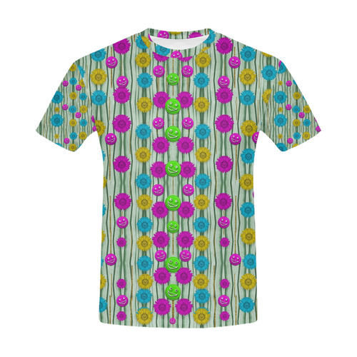 Wood and flower trees with smiles of gold All Over Print T-Shirt for Men (USA Size) (Model T40)