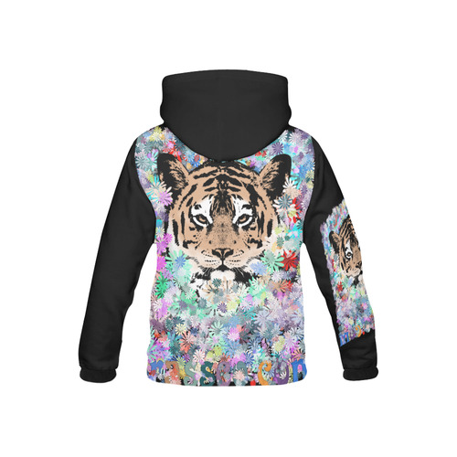 TIGER FLOWERS 3 All Over Print Hoodie for Kid (USA Size) (Model H13)
