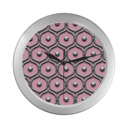 Pink and Chrome Silver Color Wall Clock