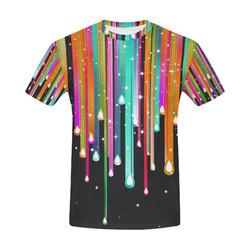 Stars & Stripes Shower multicolored All Over Print T-Shirt for Men (USA Size) (Model T40)