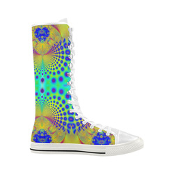 Ocean Shells and Purple Bubbles Fractal Abstract Canvas Long Boots For Women Model 7013H