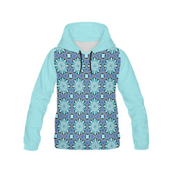 Aqua Blue Hearts and Flowers All Over Print Hoodie for Women (USA Size) (Model H13)