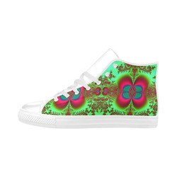Gypsy Bohemian Lace Fractal Abstract Aquila High Top Microfiber Leather Women's Shoes (Model 032)