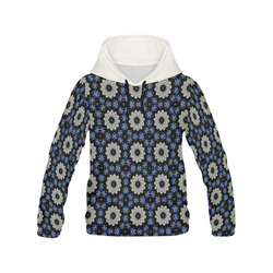 Blue and Black Geometric All Over Print Hoodie for Women (USA Size) (Model H13)