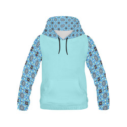 Blue Star All Over Print Hoodie for Women (USA Size) (Model H13)