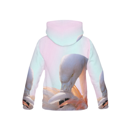 Flamingo Pink Mint All Over Print Hoodie for Kid (USA Size) (Model H13)