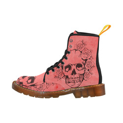 Skull with roses peach Martin Boots For Women Model 1203H