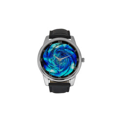 Galaxy Wormhole Spiral 3D - Jera Nour Men's Leather Strap Large Dial Watch(Model 213)