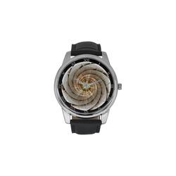 Spiral Eye 3D - Jera Nour Men's Leather Strap Large Dial Watch(Model 213)