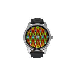 2D Wave #1A - Jera Nour Men's Leather Strap Large Dial Watch(Model 213)