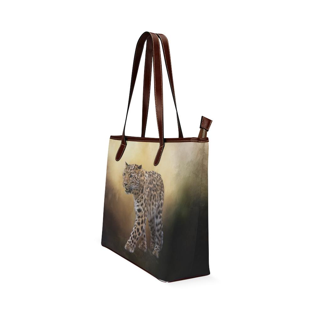 A magnificent painted Amur leopard Shoulder Tote Bag (Model 1646)