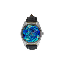 Galaxy Wormhole Spiral 3D - Jera Nour Men's Casual Leather Strap Watch(Model 211)