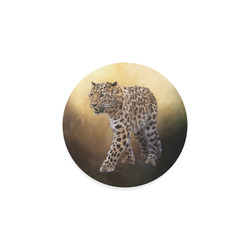 A magnificent painted Amur leopard Round Coaster