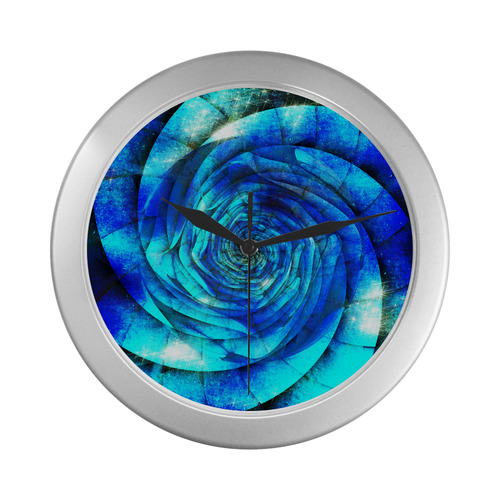 Galaxy Wormhole Spiral 3D - Jera Nour Silver Color Wall Clock