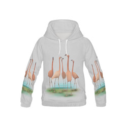 Flamingo Mingle, watercolor, birds All Over Print Hoodie for Kid (USA Size) (Model H13)