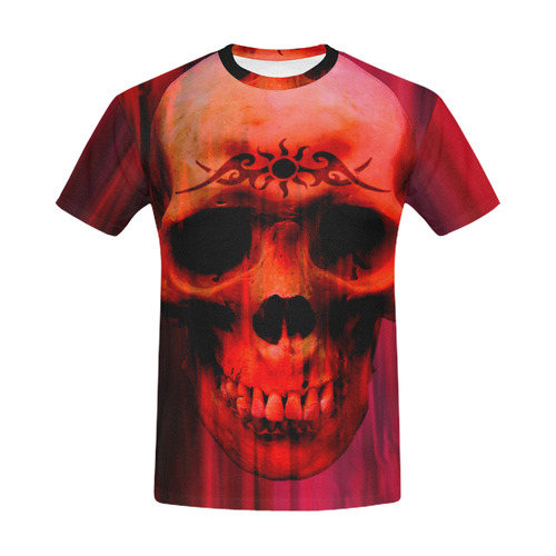 Red skull with tribal mens t shirt All Over Print T-Shirt for Men (USA Size) (Model T40)
