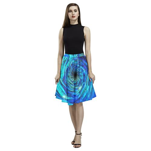 Galaxy Wormhole Spiral 3D - Jera Nour Melete Pleated Midi Skirt (Model D15)