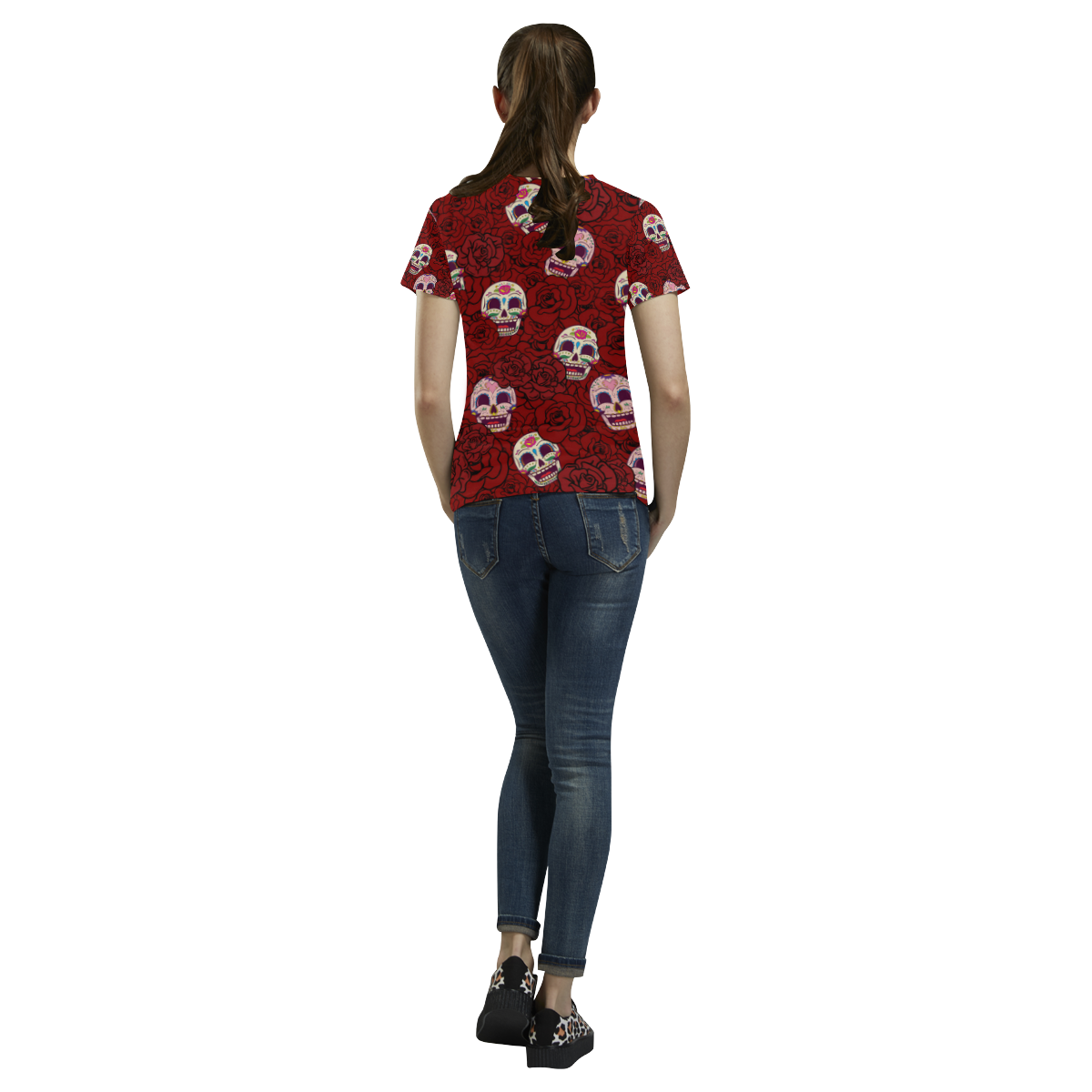 Rose Sugar Skull All Over Print T-Shirt for Women (USA Size) (Model T40)