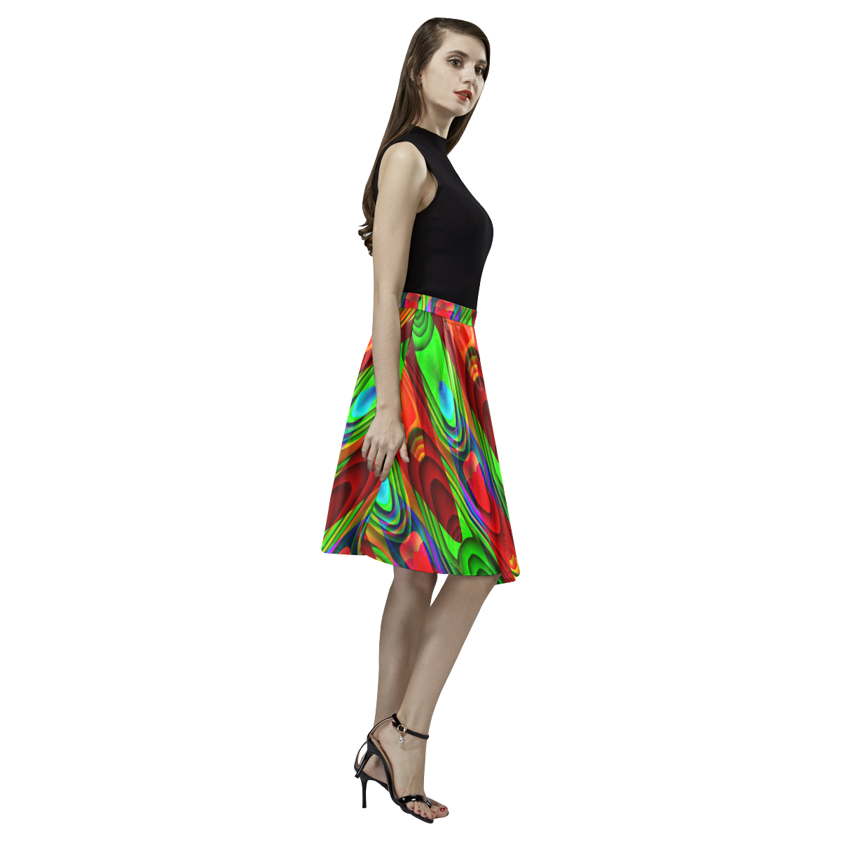 2D Wave #1B - Jera Nour Melete Pleated Midi Skirt (Model D15)
