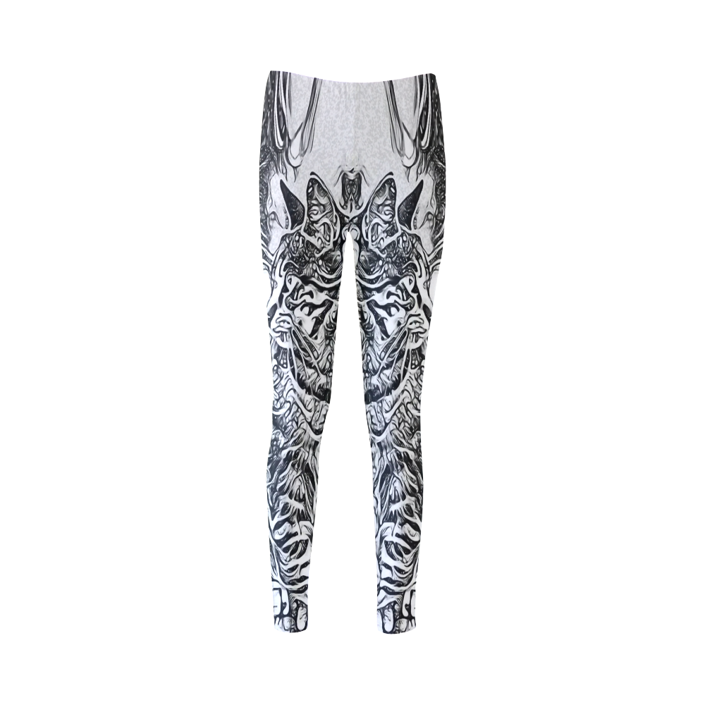 Black White Drawing of a CAT Cassandra Women's Leggings (Model L01)