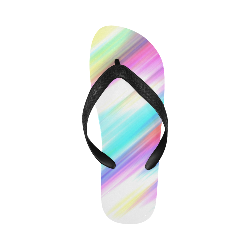 Rainbow Stripe Abstract Flip Flops for Men/Women (Model 040)