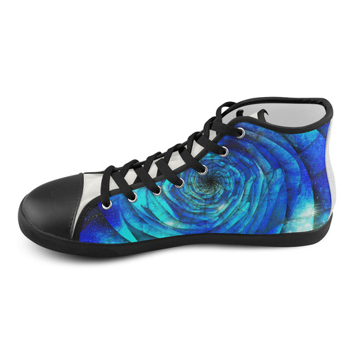 Galaxy Wormhole Spiral 3D - Jera Nour High Top Canvas Kid's Shoes (Model 002)