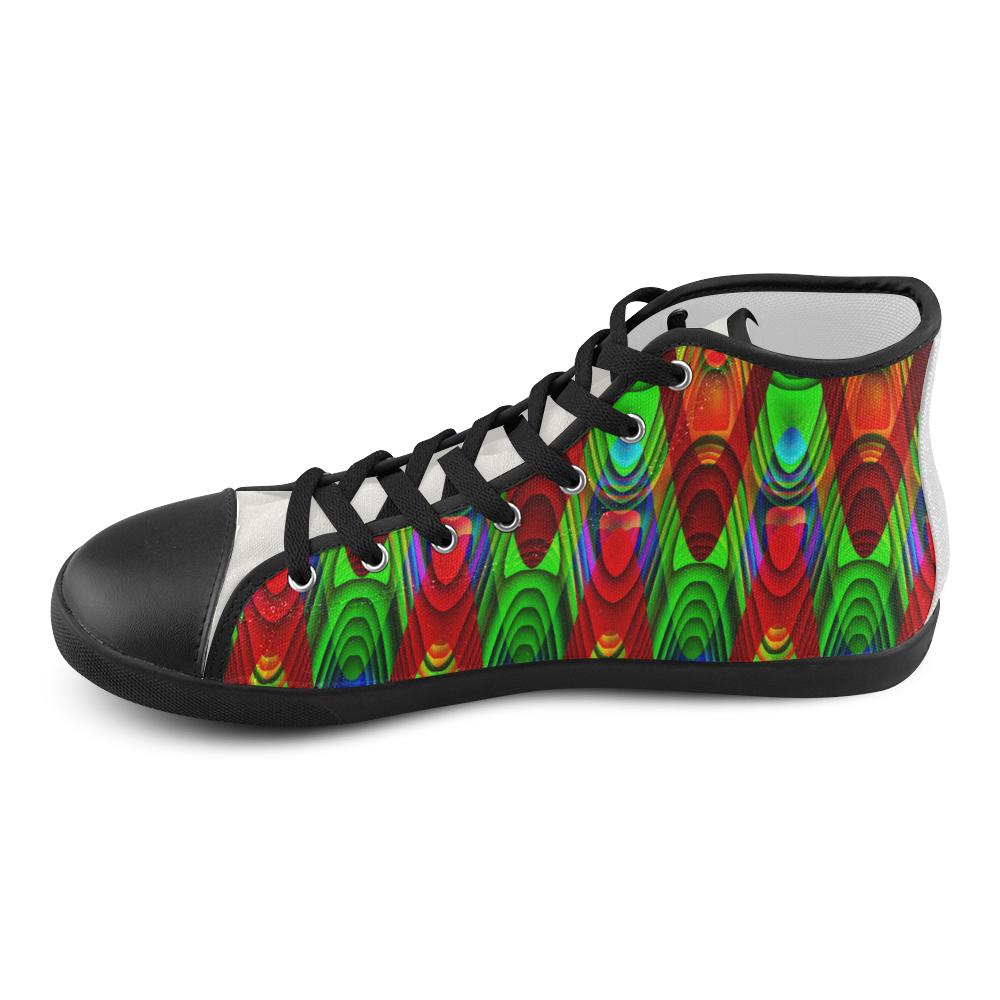 2D Wave #1B - Jera Nour High Top Canvas Kid's Shoes (Model 002)