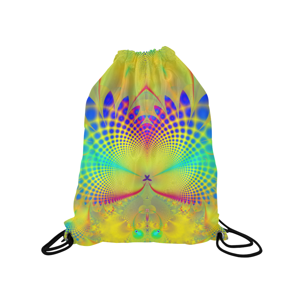 "Summers Tropical Awakening Fractal Abstract Medium Drawstring Bag Model 1604 (Twin Sides) 13.8""(W) * 18.1""(H)"