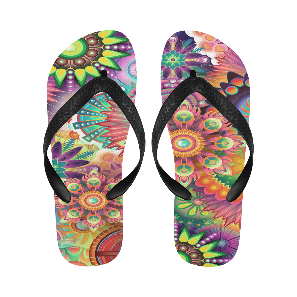 Flowering Fractal Neon Whimsy Flip Flops for Men/Women (Model 040)