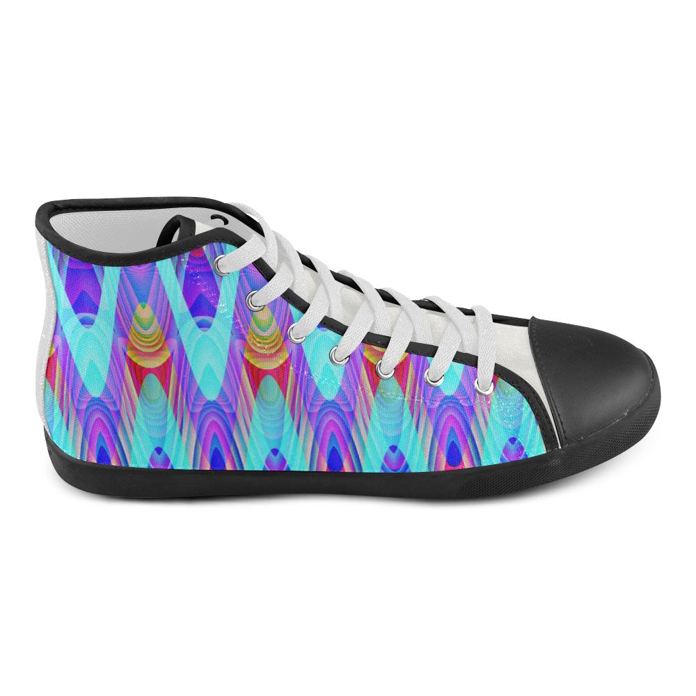 2D Wave #1A - Jera Nour High Top Canvas Kid's Shoes (Model 002)