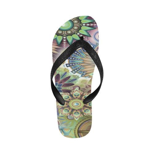 Flowering Fractal Green Whimsy Flip Flops for Men/Women (Model 040)