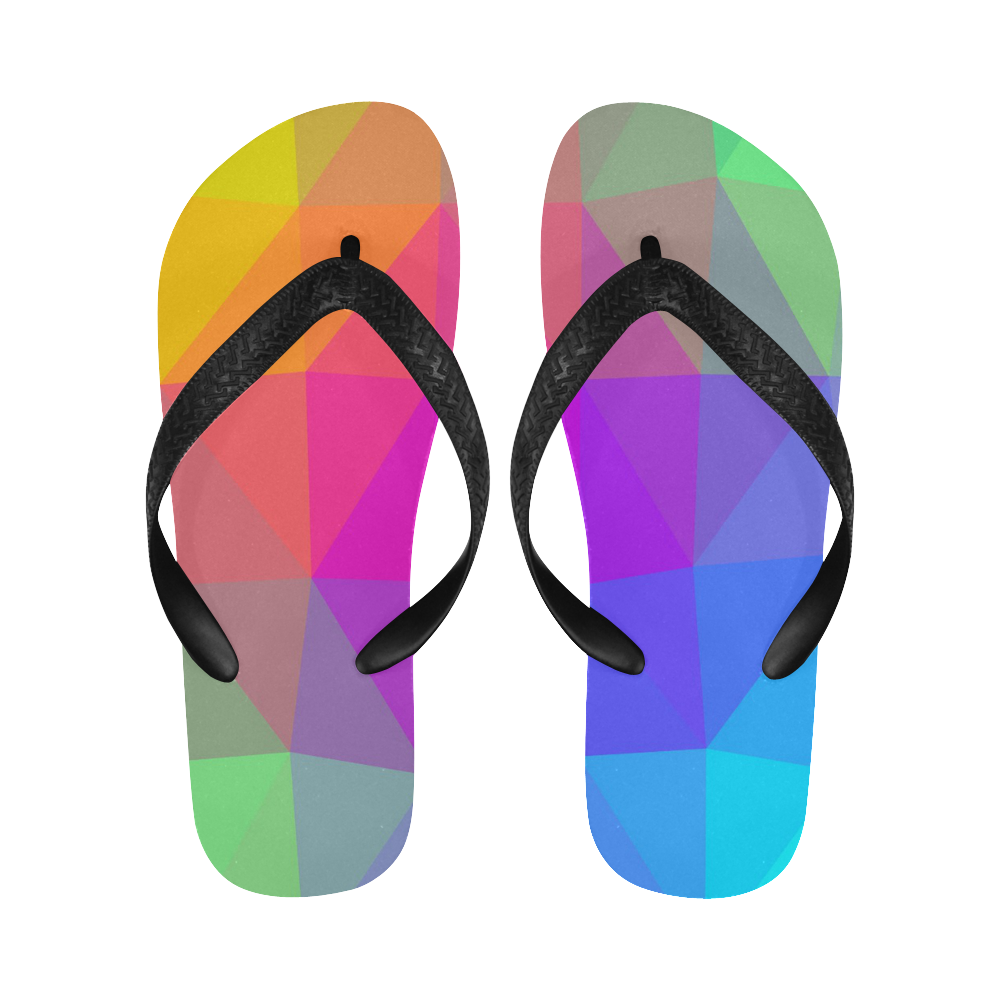 Triangle Rainbow Abstract Flip Flops for Men/Women (Model 040)