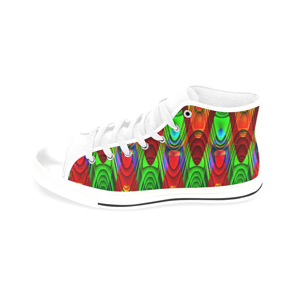 2D Wave #1B - Jera Nour Men's Classic High Top Canvas Shoes /Large Size (Model 017)