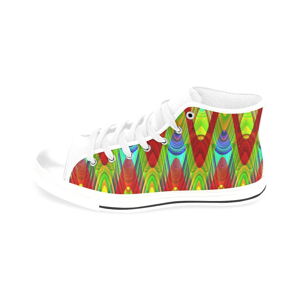 2D Wave #1A - Jera Nour Men's Classic High Top Canvas Shoes /Large Size (Model 017)