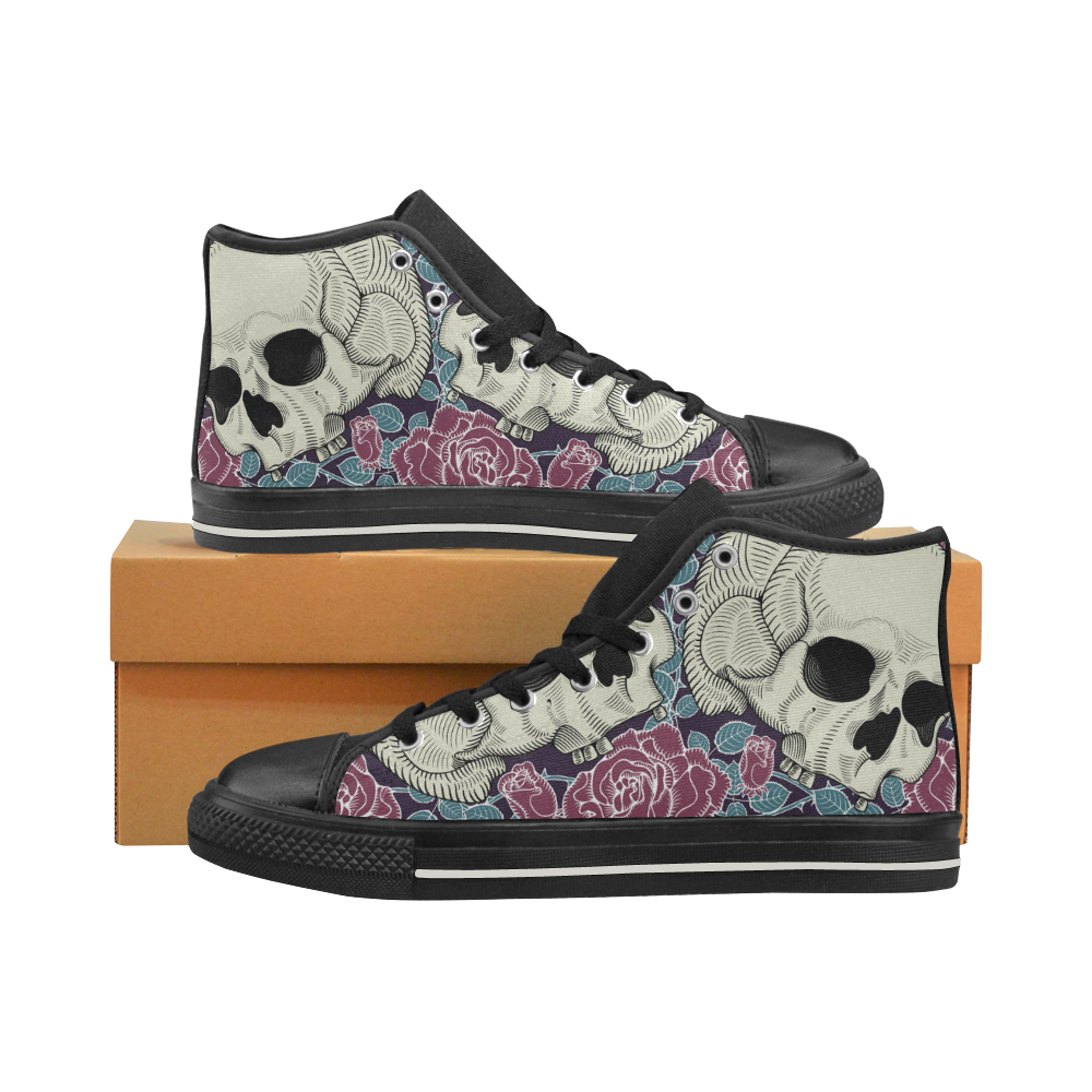 Skull with Red Rose Women's Classic High Top Canvas Shoes (Model 017)