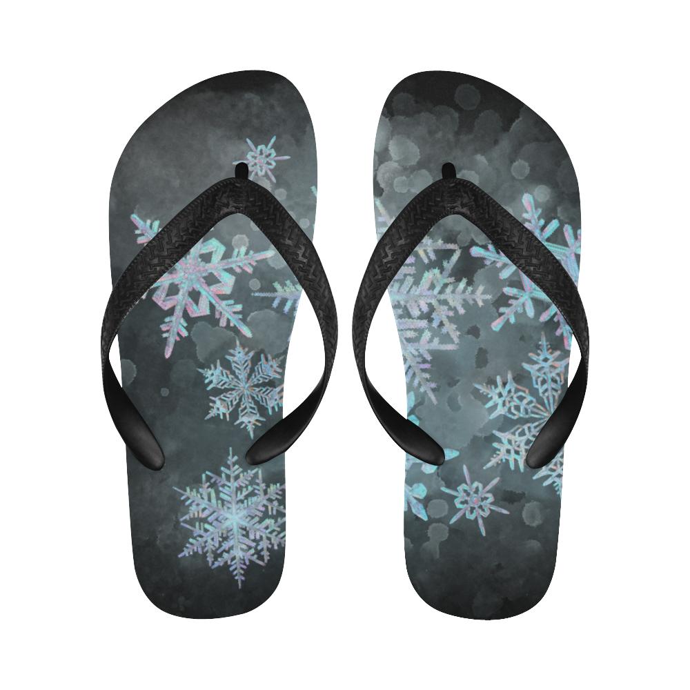 Snowflakes, snow, white and blue, Christmas Flip Flops for Men/Women (Model 040)