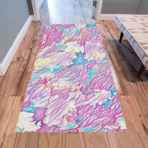 Flower Colors Abtract Area Rug 7'x3'3''