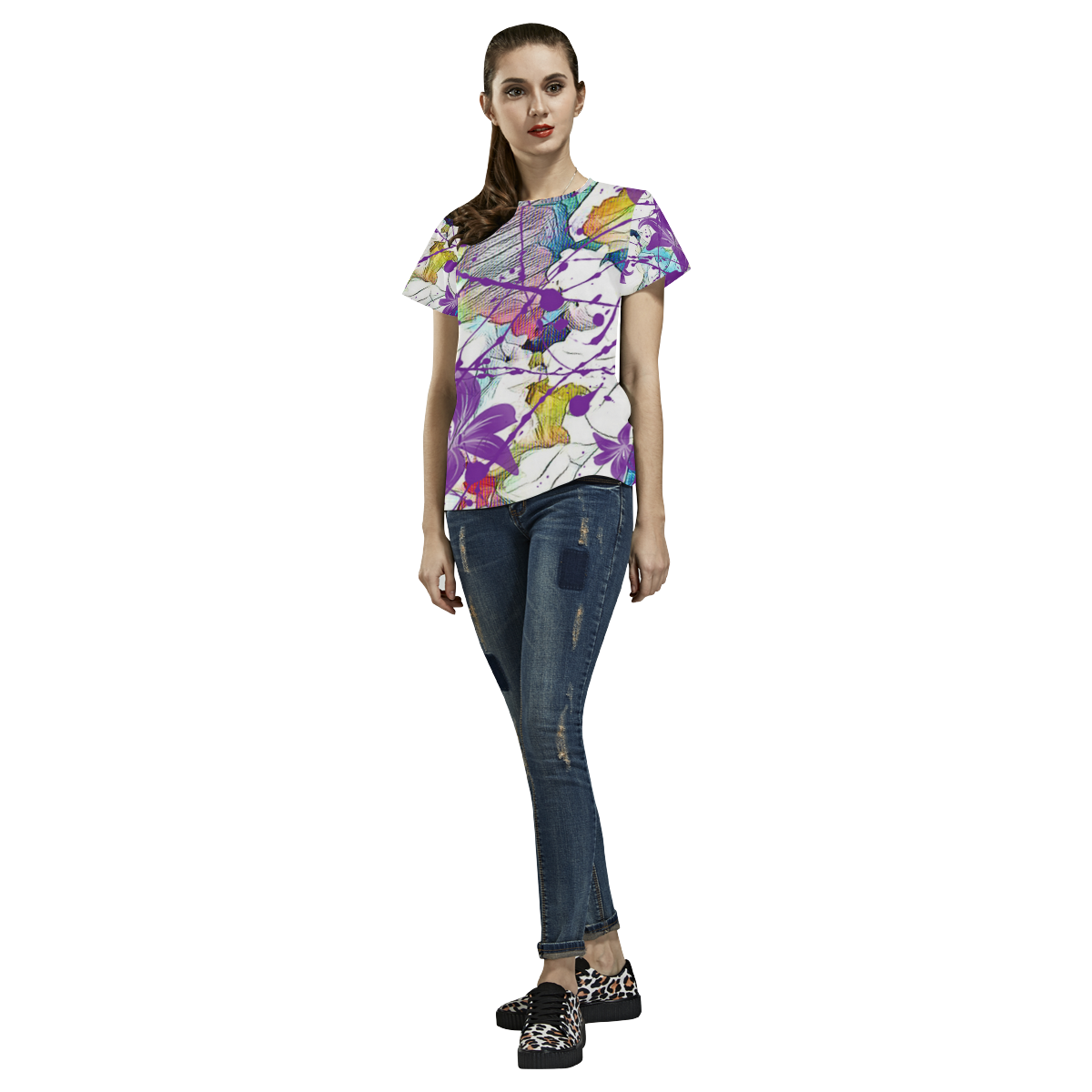 Lilac Lillis Abtract Splash All Over Print T-Shirt for Women (USA Size) (Model T40)