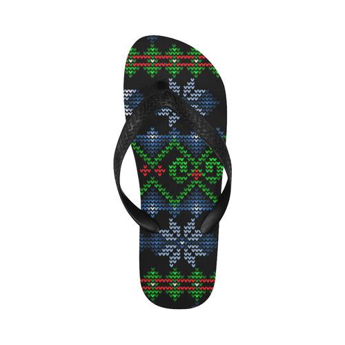 Ugly Christmas Sweater Knit, Christmas Flip Flops for Men/Women (Model 040)