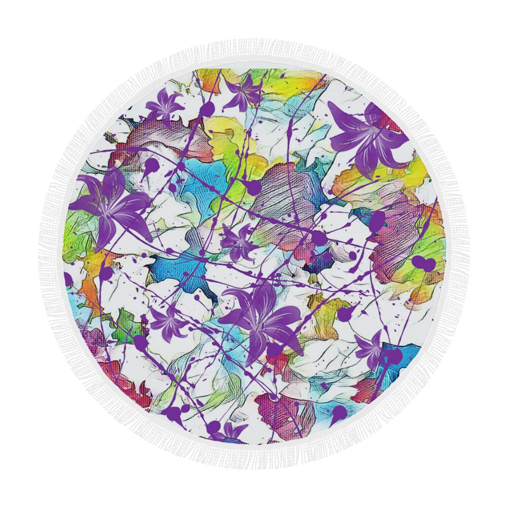 """Lilac Lillis Abtract Splash Circular Beach Shawl 59""""x 59"""""""
