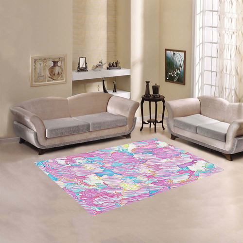 Flower Colors Abtract Area Rug 5'3''x4'
