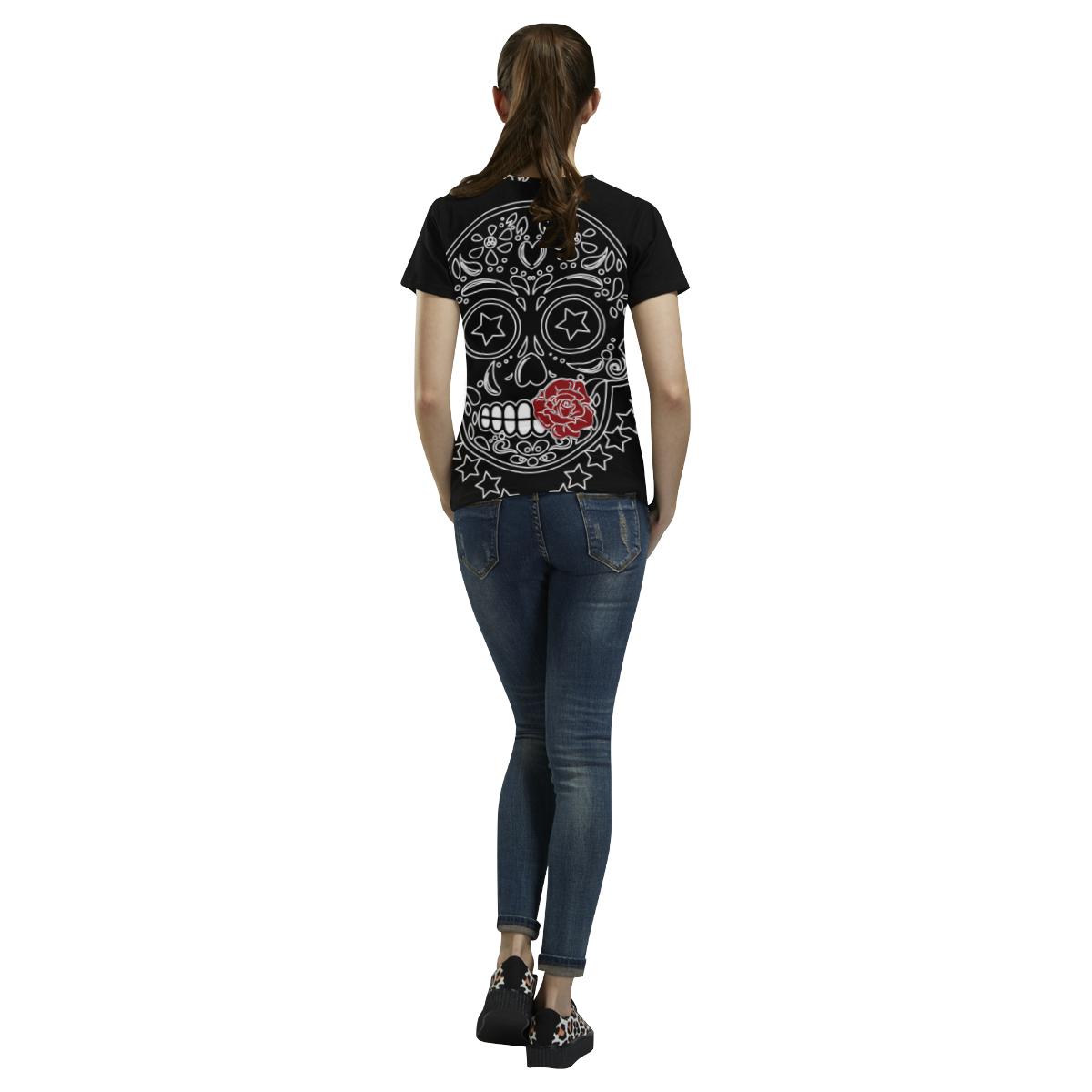 Sugar Skull Red Rose All Over Print T-Shirt for Women (USA Size) (Model T40)