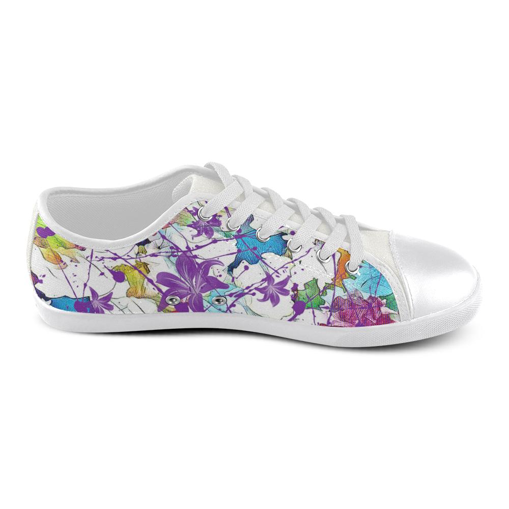 Lilac Lillis Abtract Splash Women's Canvas Shoes (Model 016)