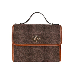 Denim with vintage floral pattern, rich brown Waterproof Canvas Bag/All Over Print (Model 1641)