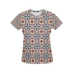 Multicolored Geometric All Over Print T-Shirt for Women (USA Size) (Model T40)