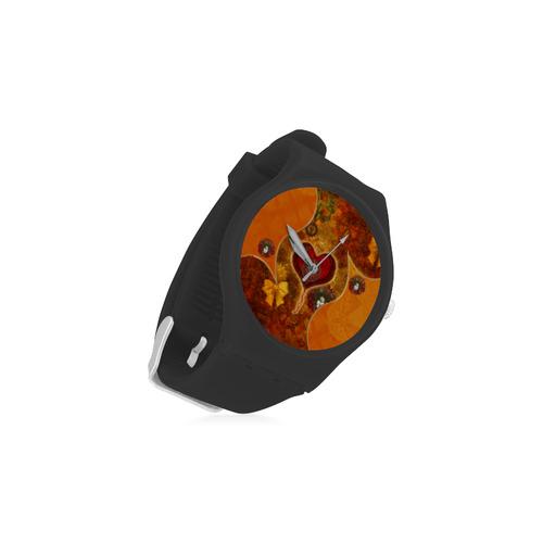 Steampunk decorative heart Unisex Round Rubber Sport Watch(Model 314)