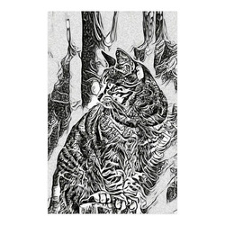 """Black White Drawing of a CAT Poster 23""""x36"""""""