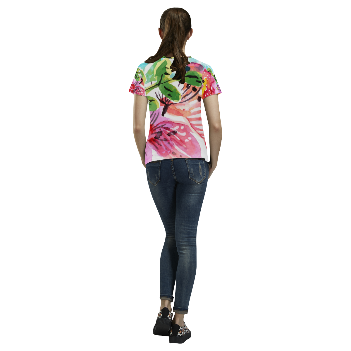 Cute Pink Watercolor Floral Landscape All Over Print T-Shirt for Women (USA Size) (Model T40)