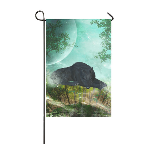 Sleeping wolf in the night Garden Flag 12''x18''(Without Flagpole)
